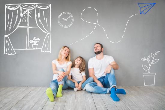 famille heureuse maison dessins